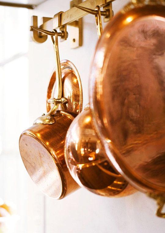 Copper Pots And Pans Pot Rack Hanging Copper Pots Traditional Kitchen Design