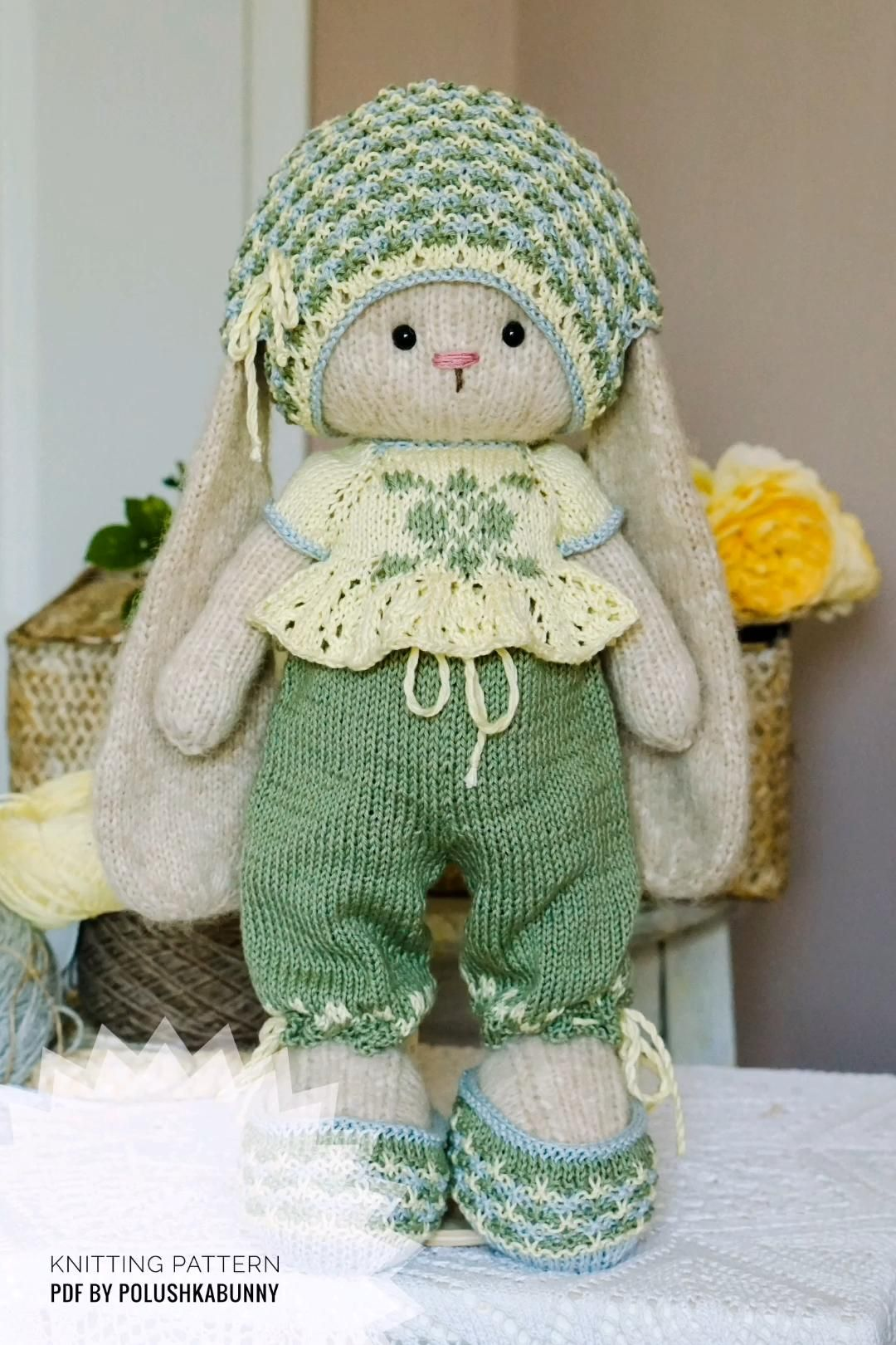 Doll clothes patterns PDF Outfit Pretty for Bunny toy by PolushkaBunny #bunny #rabbit #knit