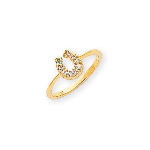 14k Yellow Gold Polished Diamond Horseshoe Ring