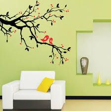 tree branch love birds cherry blossom wall decor decals removable decorative art mural poster stickers for living room background