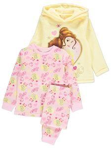 157ee946b03f Girls Disney Princess Belle Pyjamas   Fleece Hoodie Set – Novelty ...