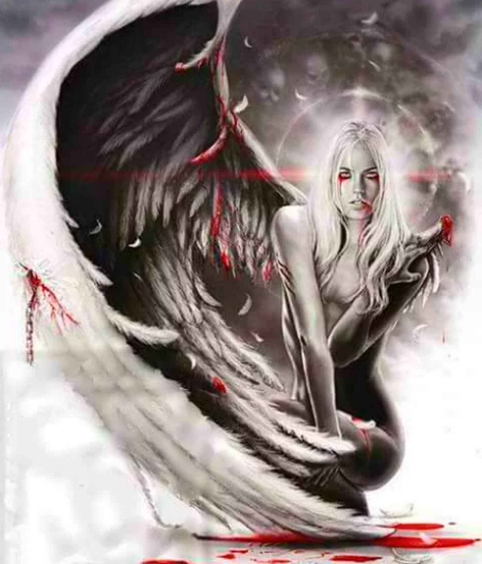Half Naked Gothic Angel Biblical Picture Poster Heaven Hell Art Framed Print