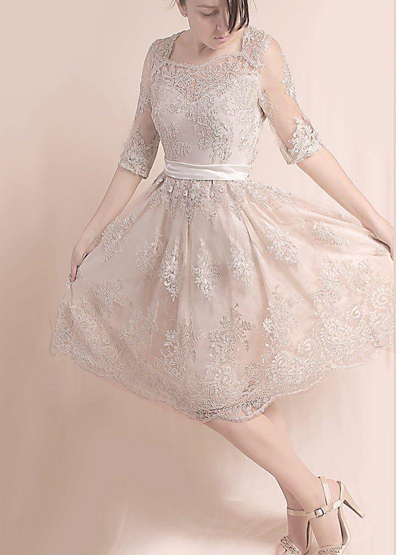 Lace short Wedding party ,reception , beach wedding dress