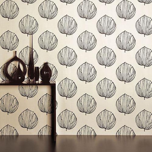 Modern wallpaper graphic black white leaf print by romo by xjavierx via flickr