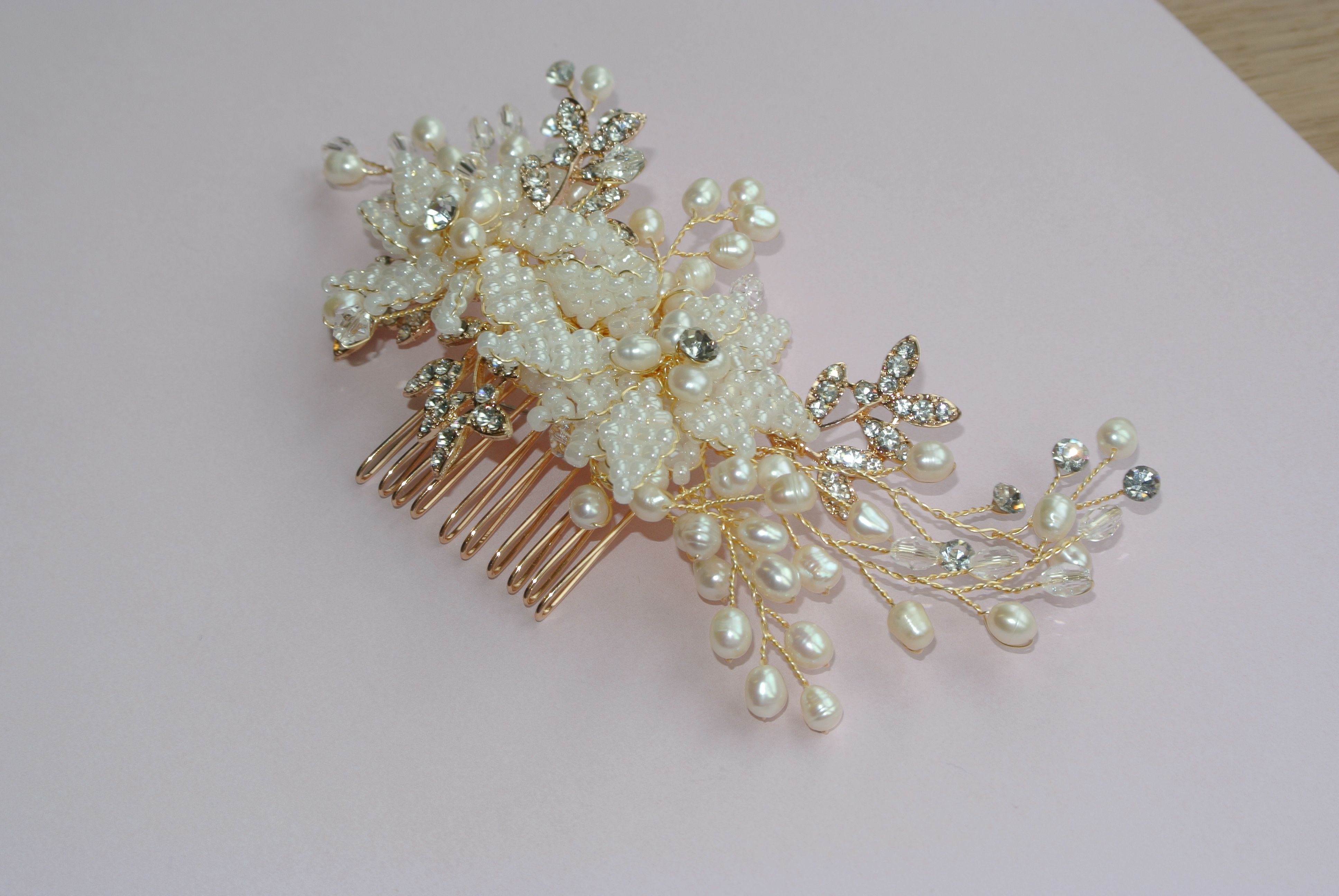 Pleione Hair Comb - A medium gold comb adorned with natural lustre ...