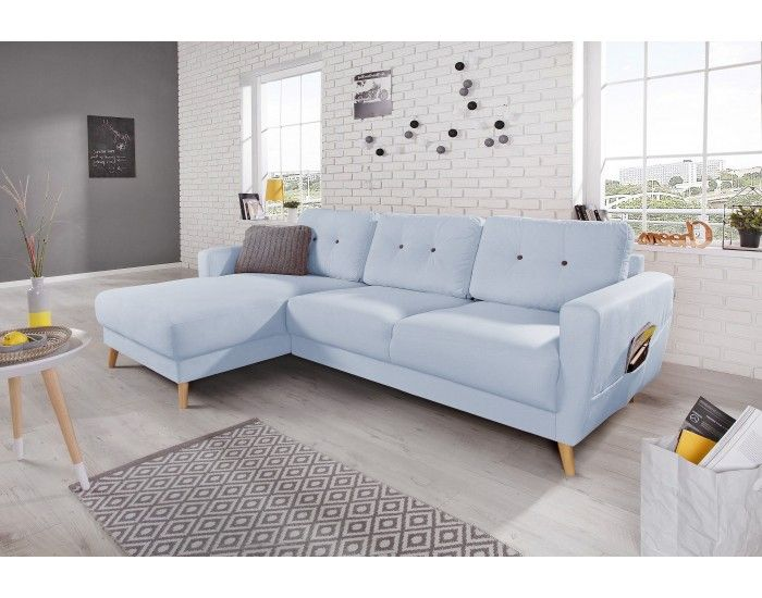 OSLO - Canapé d\'angle gauche - Bleu poudré - 225x147x86cm en ...