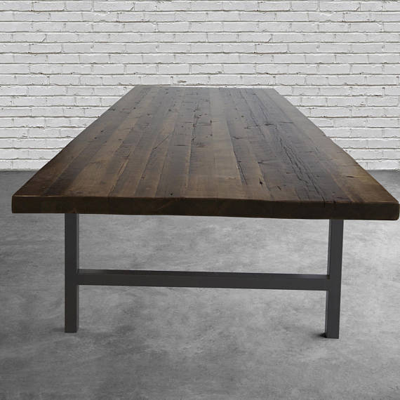 Conference Table Made With Thick Reclaimed Wood Top And Steel - Conference table bases wood