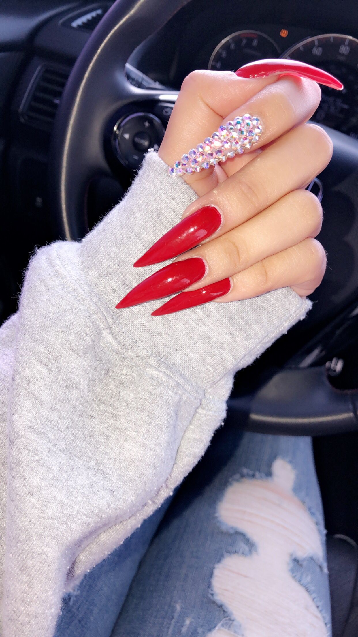 Claws Red Acrylic Nails Red Stiletto Nails Long Stiletto Nails