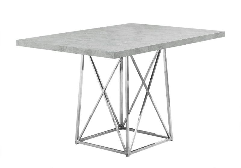 Dining Table 36 X 48 Grey Cement Chrome Metal Grey Dining