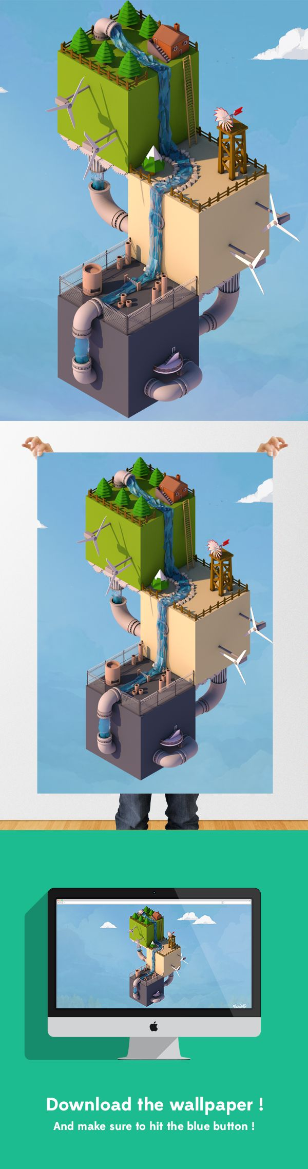 Isometric Low Poly World by Kiril Climson, via Behance