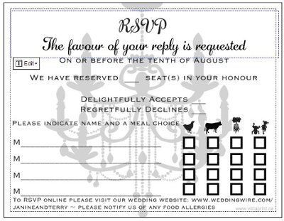 Sit down plated dinner RSVP cardscan you post some pics of - party rsvp template