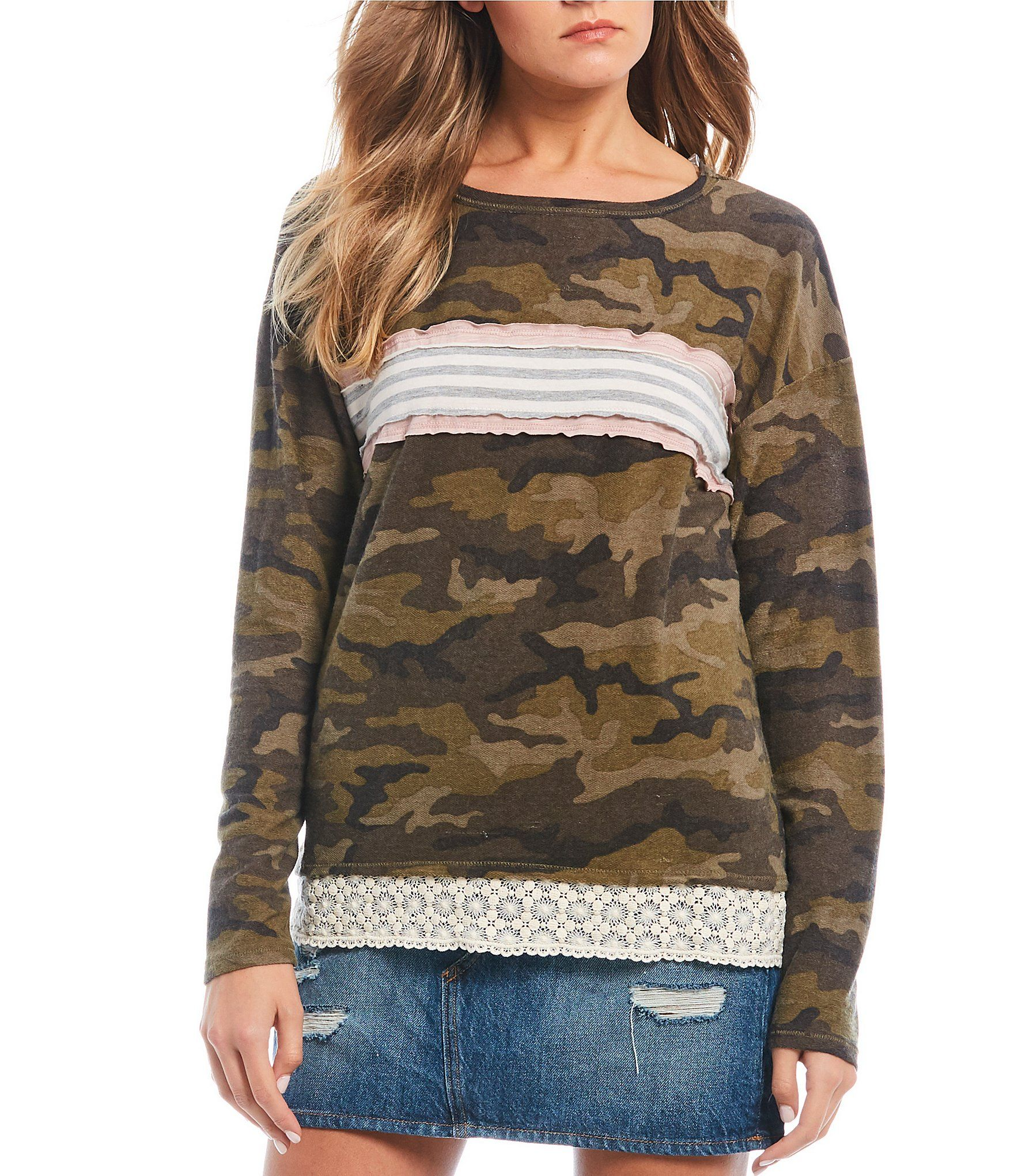 Jolt Stripe Camo Long Sleeve Top | Dillard's #stripedlongsleevetops