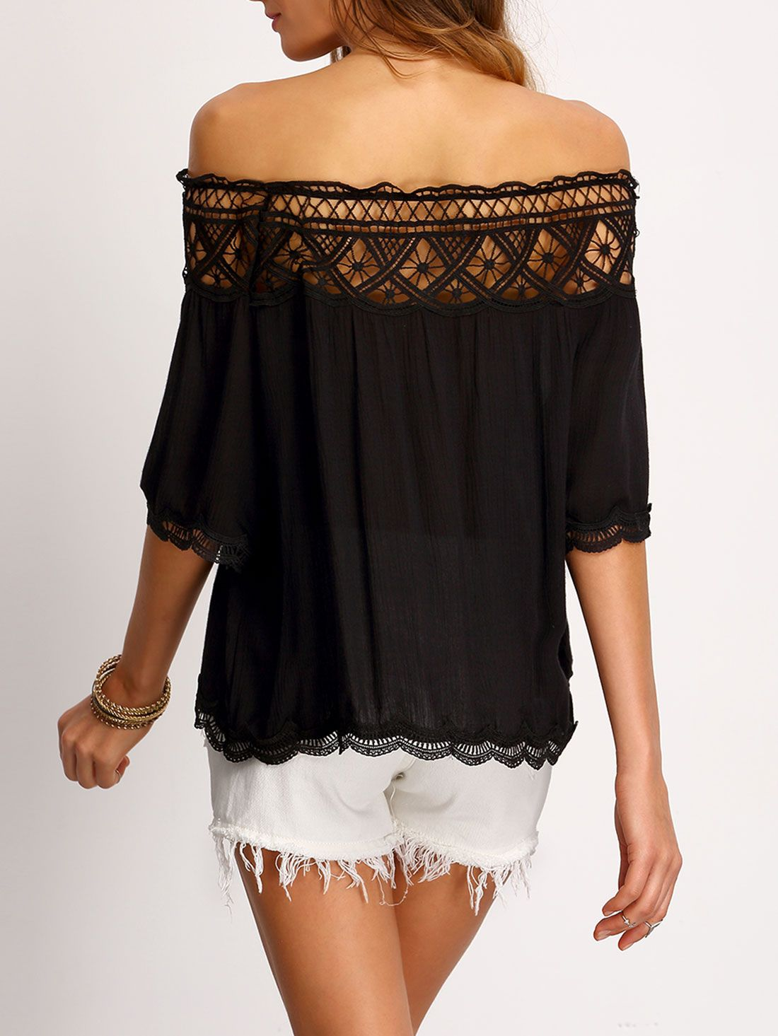 76d2525994 Shop Boat Neck Crochet Hollow Out Shirt online. SheIn offers Boat Neck  Crochet Hollow Out Shirt & more to fit your fashionable needs.