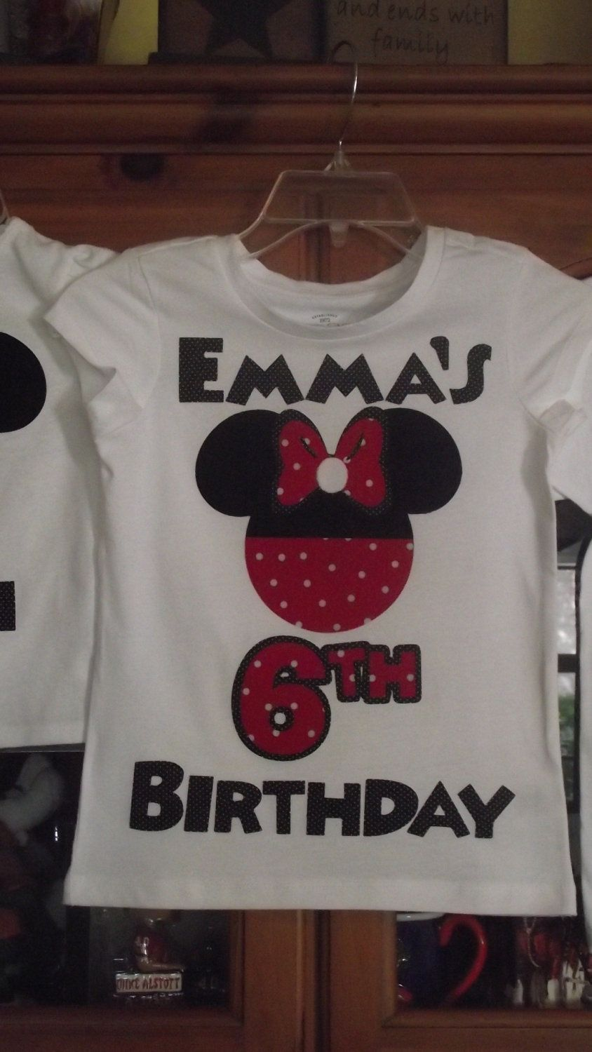 fbebc9436 Red Black Minnie Mickey Mouse - Mommy & Baby Disney Birthday Family Custom  T-Shirt Personalized Applique Head. $18.00, via Etsy.