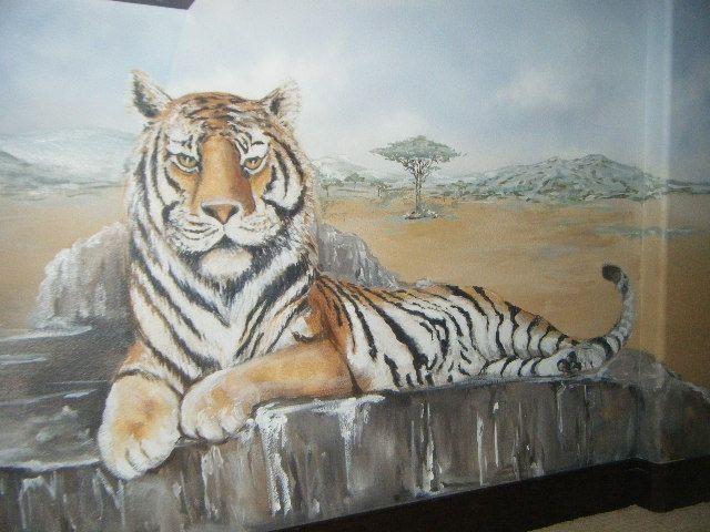 Tiger mural painted in bedroom