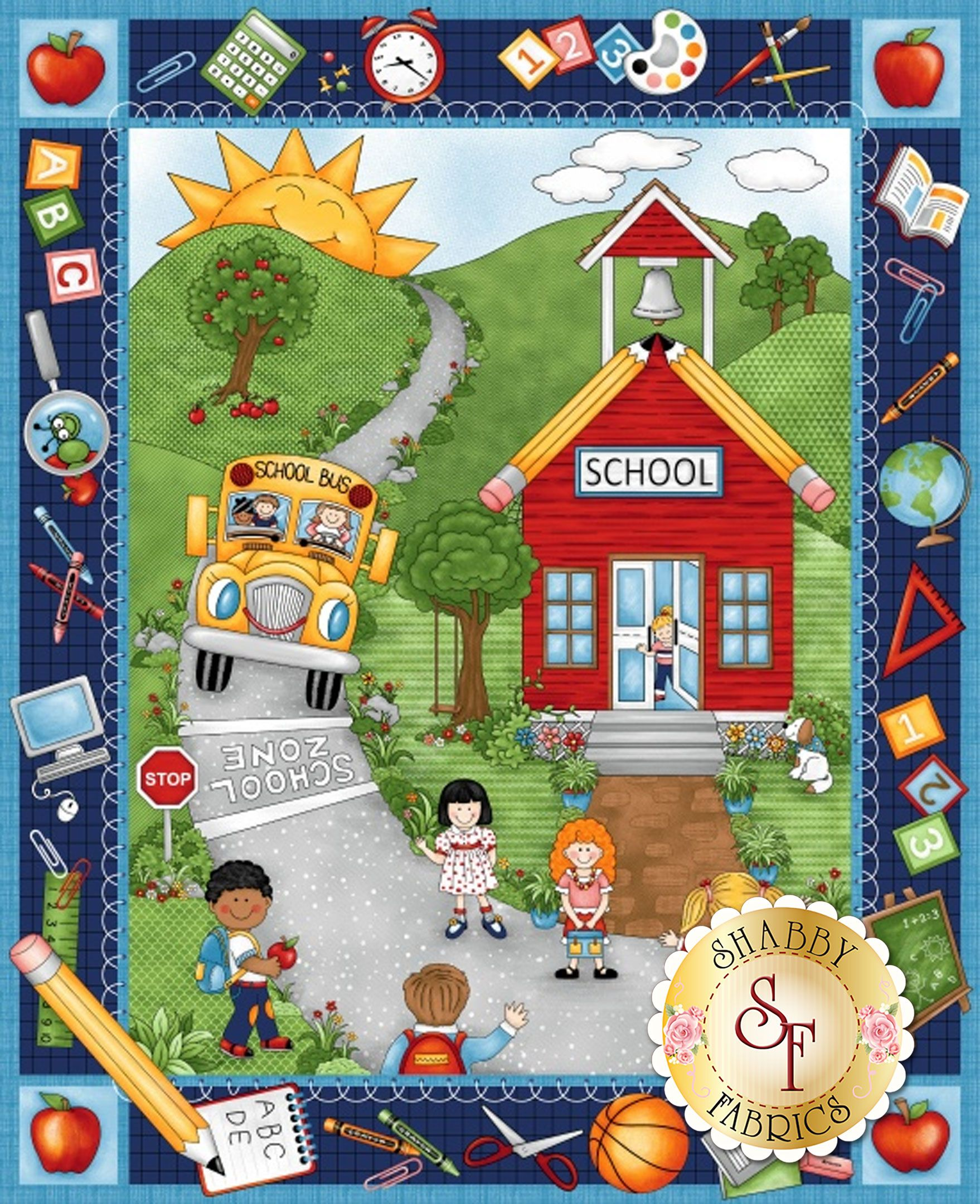 """Robert Kaufman Primary Back to School Bus 100/% Cotton Fabric by the Panel 24/"""""""