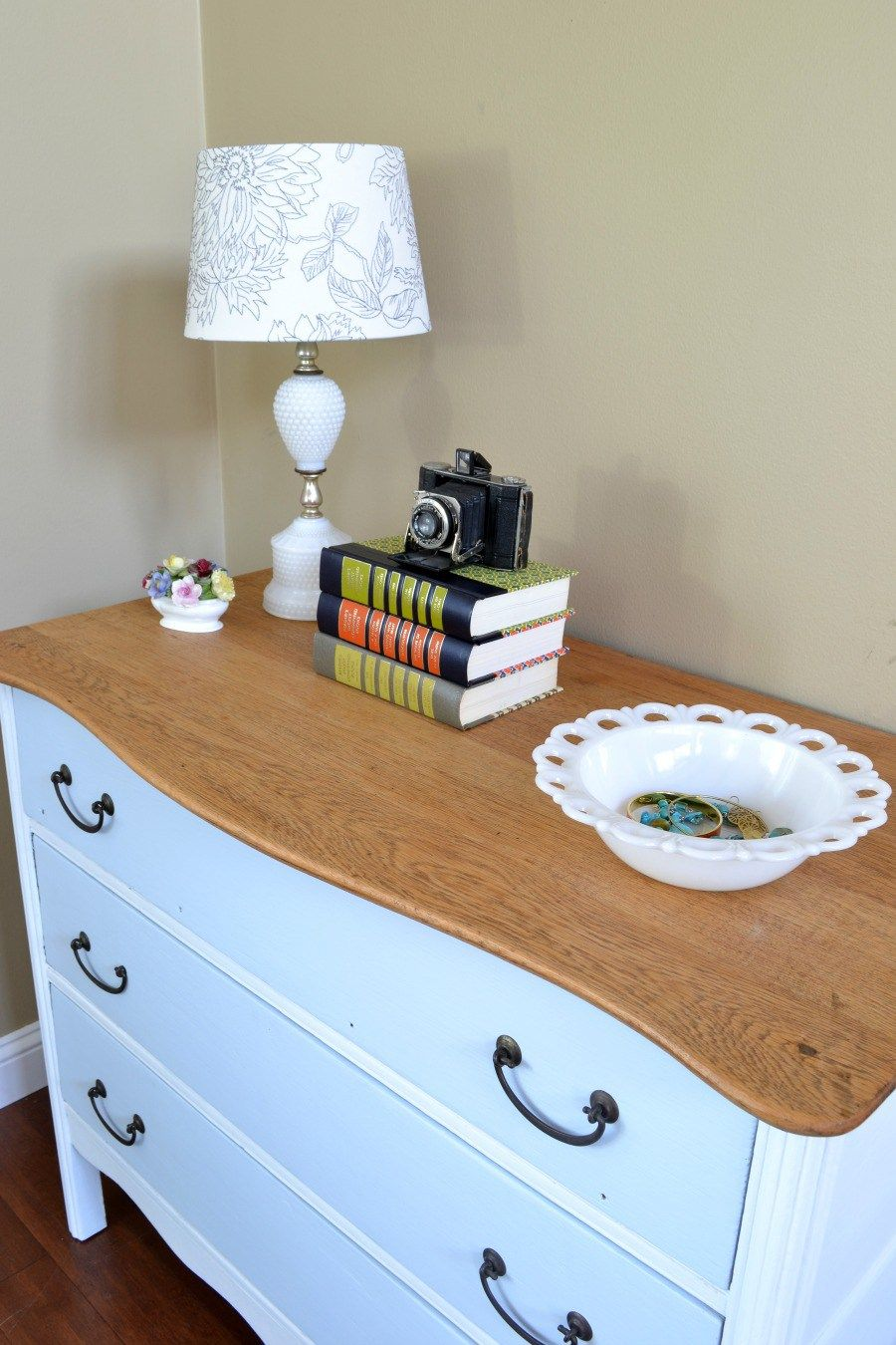 Two Toned Dresser With Natural Wood Top White Dresser Wood Top Natural Wood Dresser Furniture Inspiration White and natural wood dresser