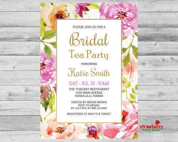 Floral Bridal Shower Invitation, Tea Party Brunch Luncheon Invite - tea party invitation