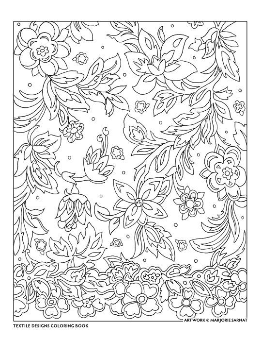 Creative Haven Textile Designs Coloring Book By Marjorie Sarnat Border Floral