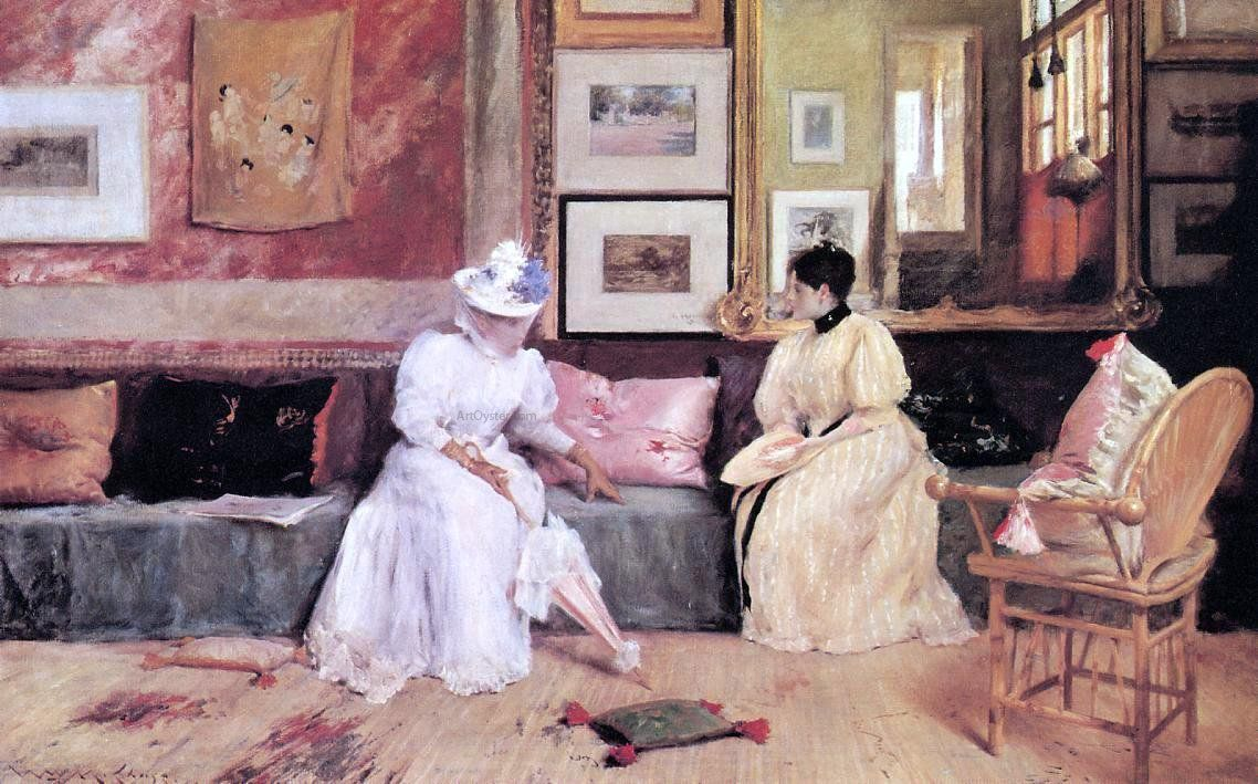 A friendly visit by William Merritt Chase Giclee Fine ArtPrint Repro on Canvas