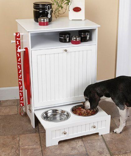 White Pet Food Cabinet With Bowls W Stainless Steel Pet Bowls Pet