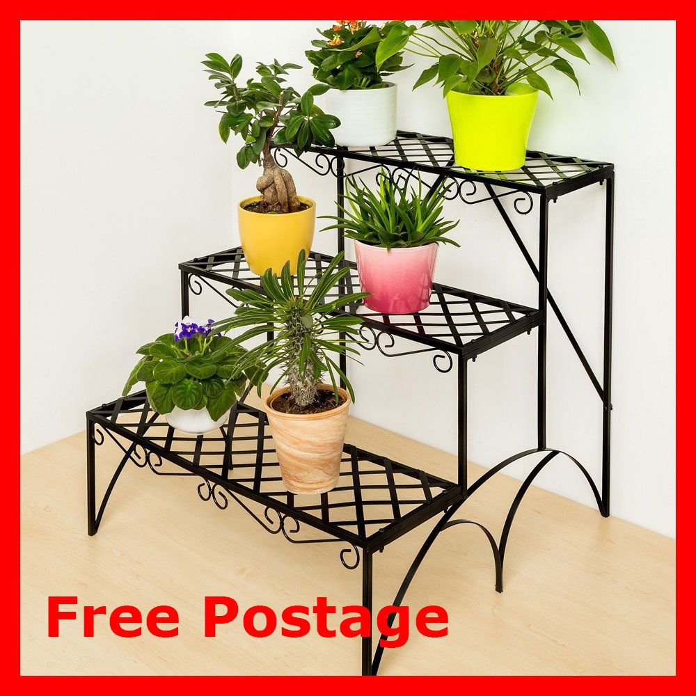 Garden Plant Etagere Black Three Shelves Metal Patio Pot Display Flower  Decor