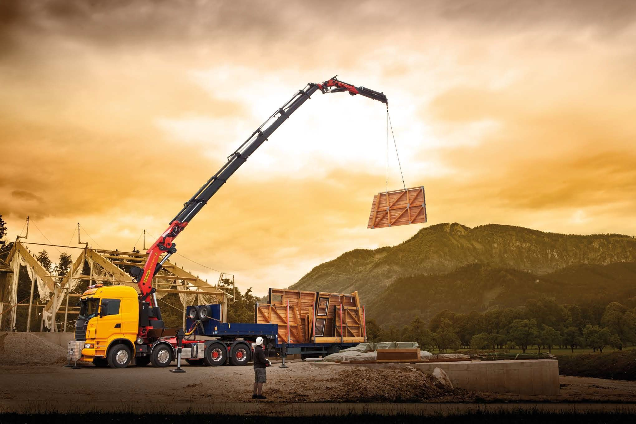 MOBILE CRANE construction truck semi tractor ariel cranes boom wallpaper background