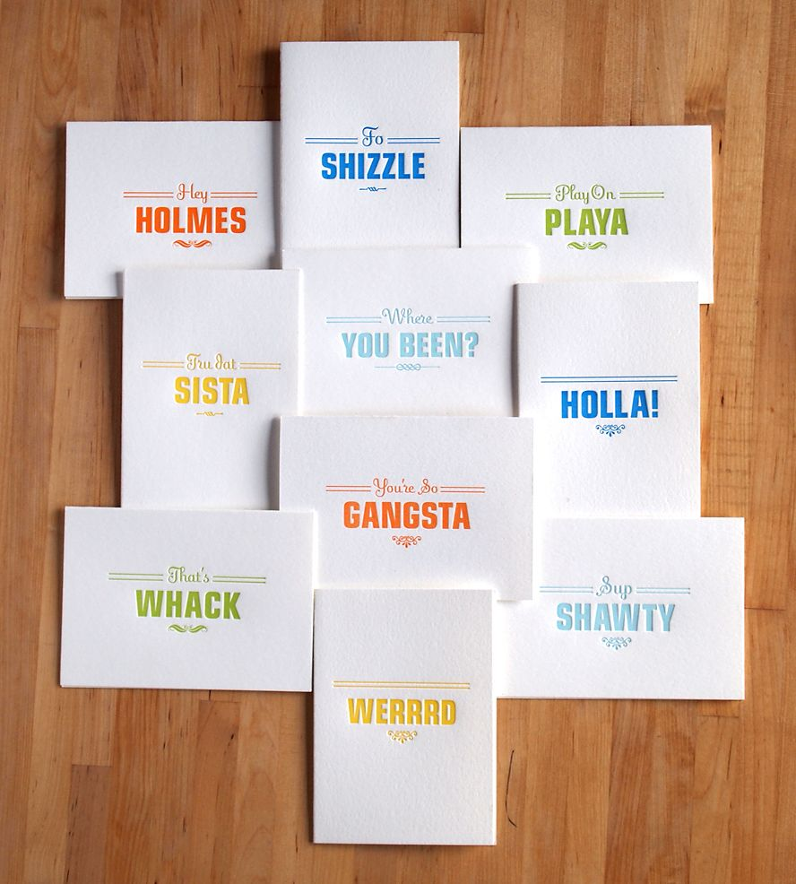 Gangsta Letterpress Cards Pack Of 10 By Farewell Paperie On