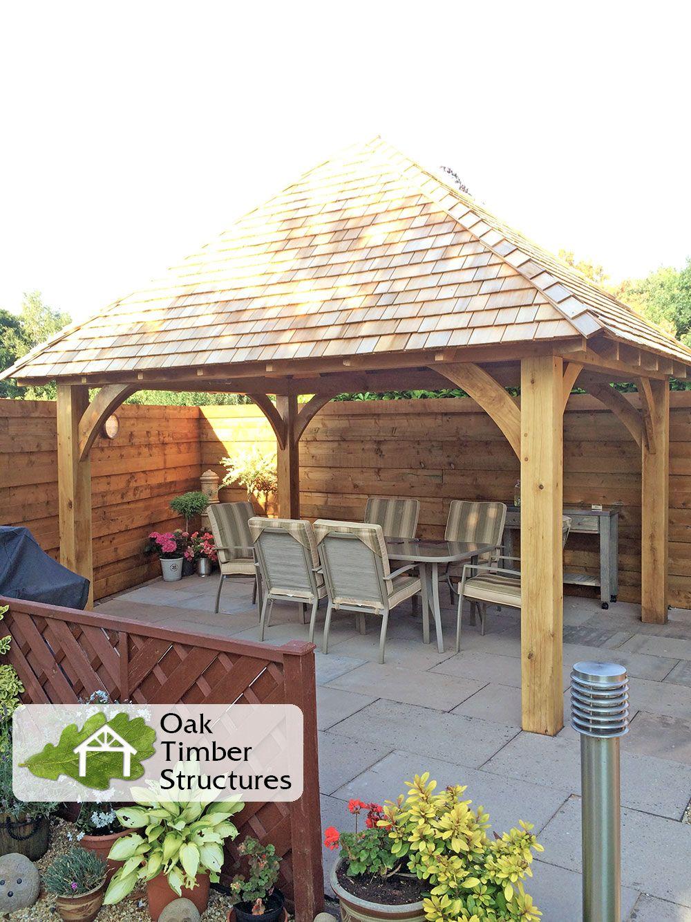 Solid Oak Framed Gazebo With Cedar Shingle Roof Supplied In Kit Form By Oak Timber Structures Size I Wooden Garden Buildings Backyard Renovations Oak Gazebo
