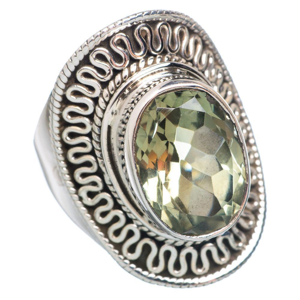 Faceted Green Amethyst 925 Sterling Silver Ring Size 7 RING742519
