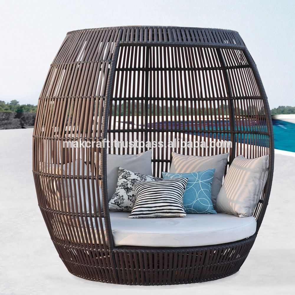 Resin Synthetic Wicker Rattan Outdoor Round Daybed Poly Rattan Round Sun Lounger Waterproof Cushi Outdoor Furniture Design Outdoor Furniture Wicker Furniture