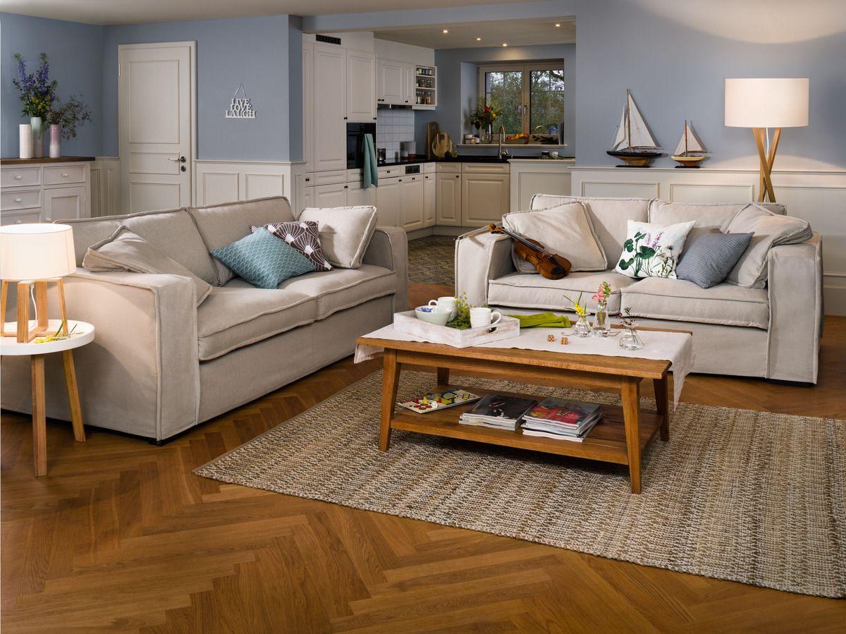 Micasa Wohnzimmer Mit 2er Sofa ELSER, Sand Und Salontisch EMILIA