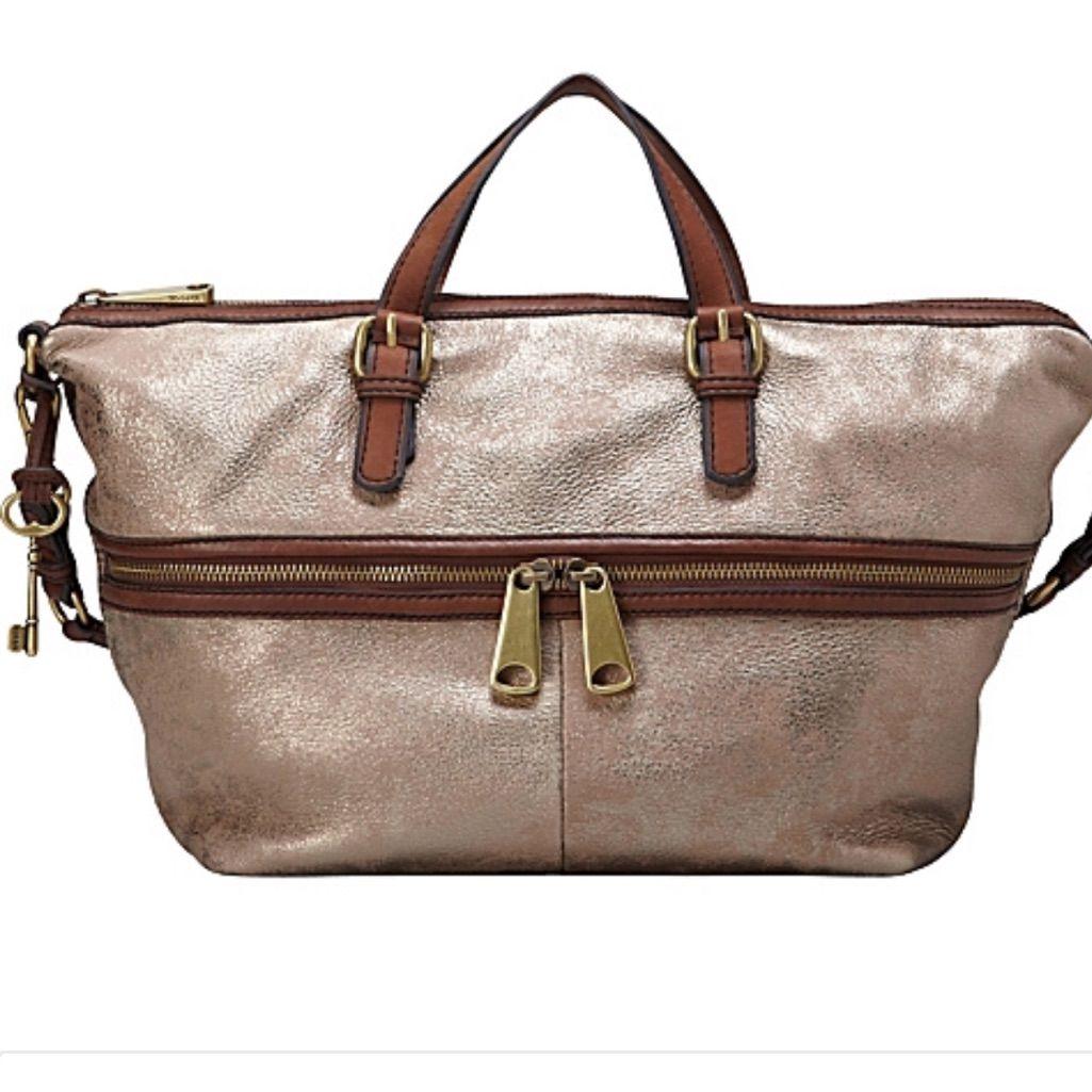 Fossil Explorer Satchel Hobo Metallic Handbag