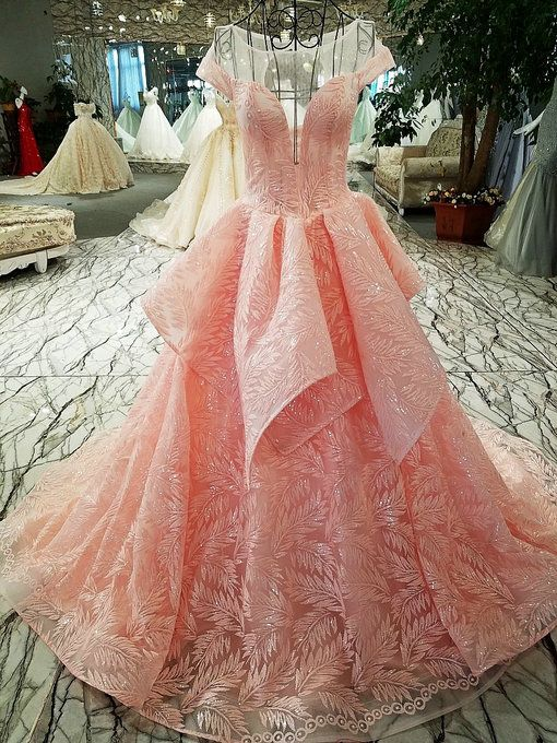 Haute Couture Off Shoulder Ball Gown Pink Wedding Gown For Sale ...
