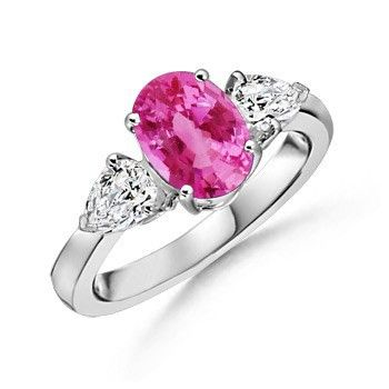 Angara Diamond 3 Stone Ring with Pink Sapphires Yellow Gold W2c5Pi2q