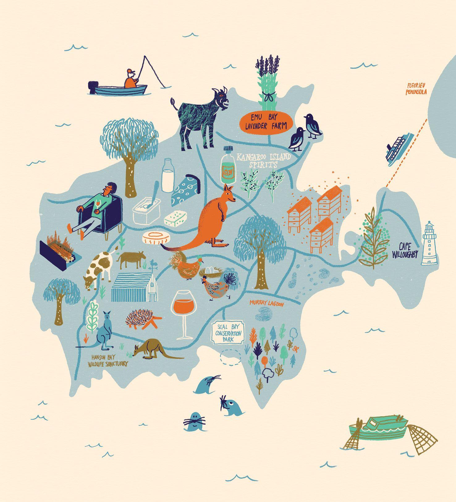 Kangaroo Island Australia Map.Kangaroo Island Illustration By Daniel Gray Flavours Of South