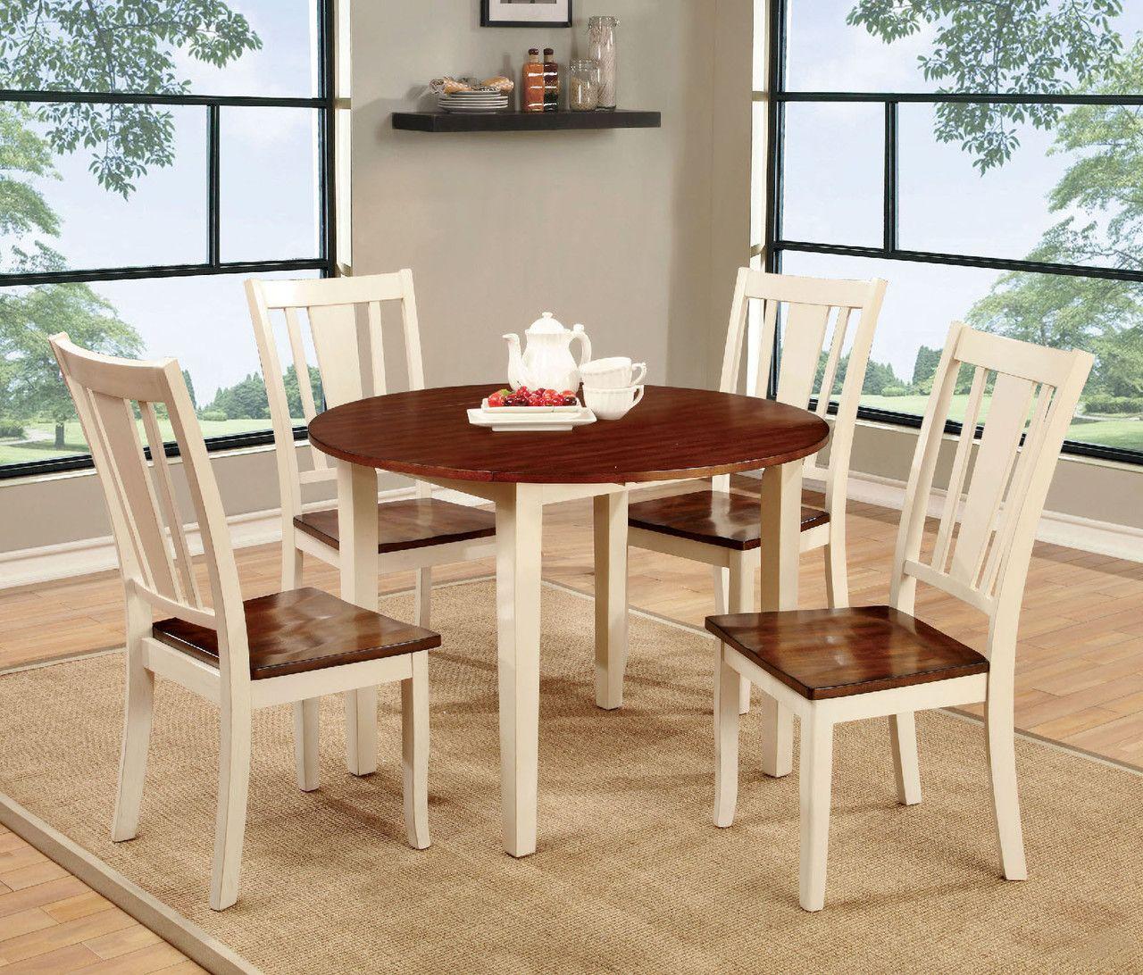 Furniture of america dover pcs vintage white u cherry round dining
