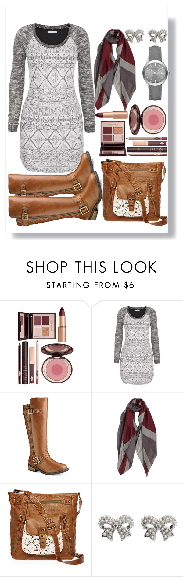 """""""Untitled #75"""" by ckitshoff ❤ liked on Polyvore featuring мода, Charlotte Tilbury, maurices, T-shirt & Jeans, M&Co и Burberry"""