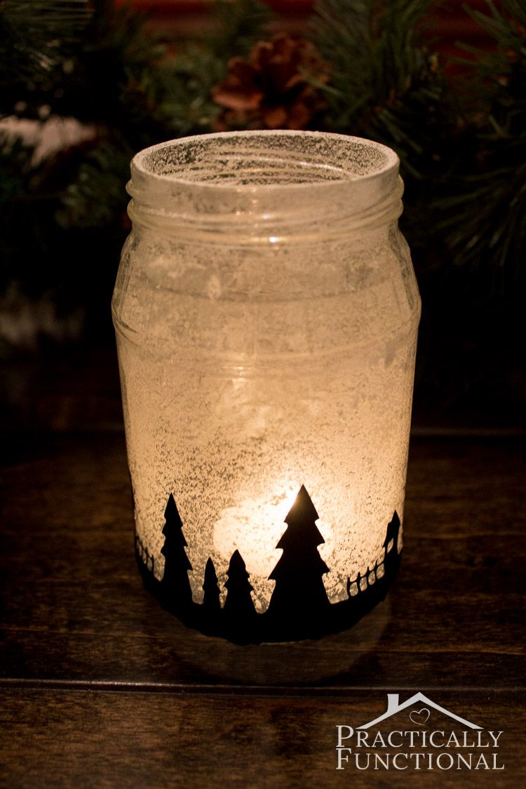 Snowy Christmas Village Silhouette Candle Jars Candle