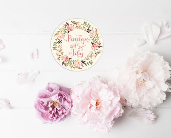 Floral Thank You Stickers Personalized Boho Wedding Favor