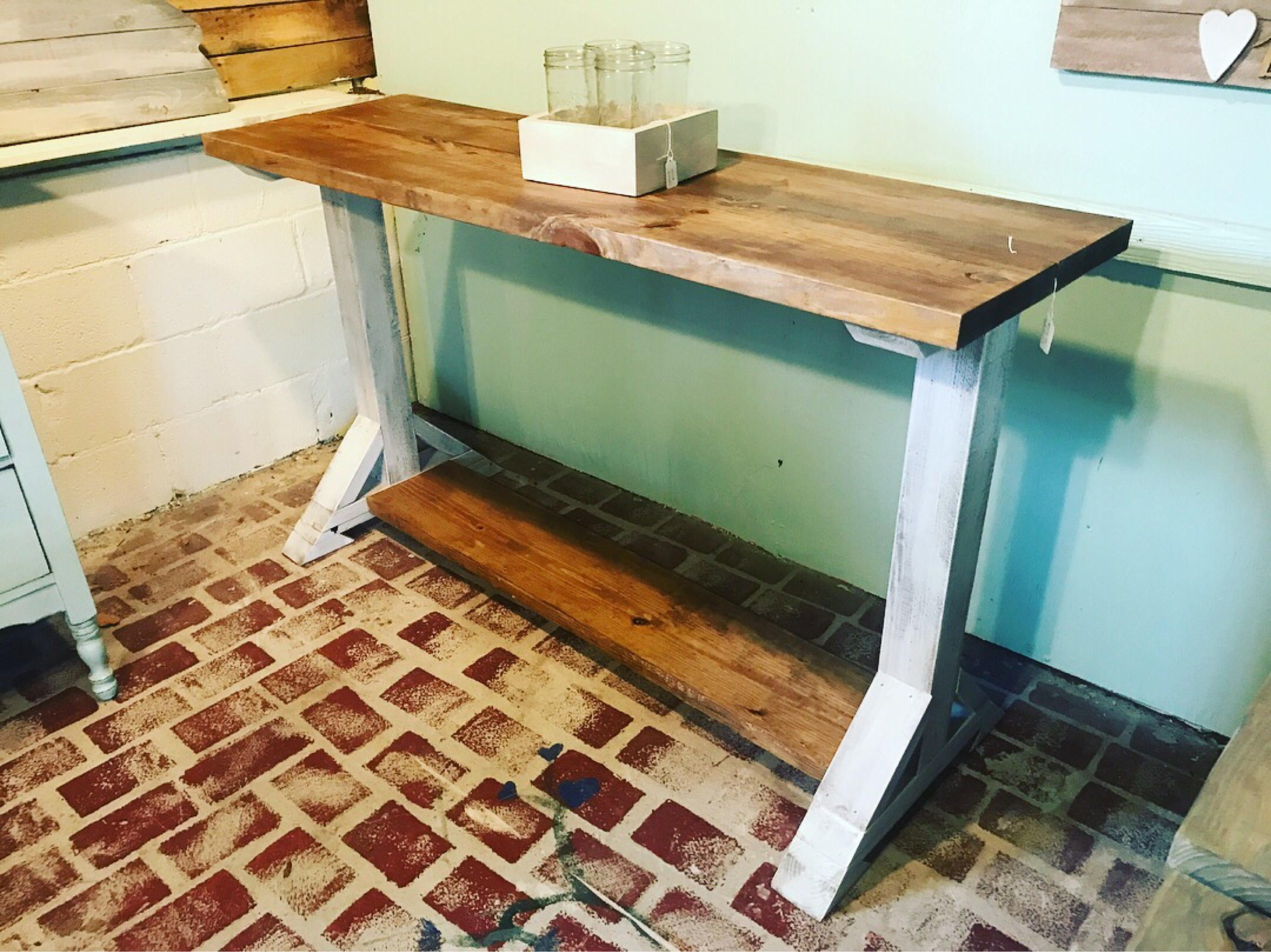 Long Rustic Farmhouse Pedestal Entryway Table Farmhouse Buffet Table Proventail Brown Top And Creamy White Distressed Base Farmhouse Buffet Entryway Tables Rustic Farmhouse