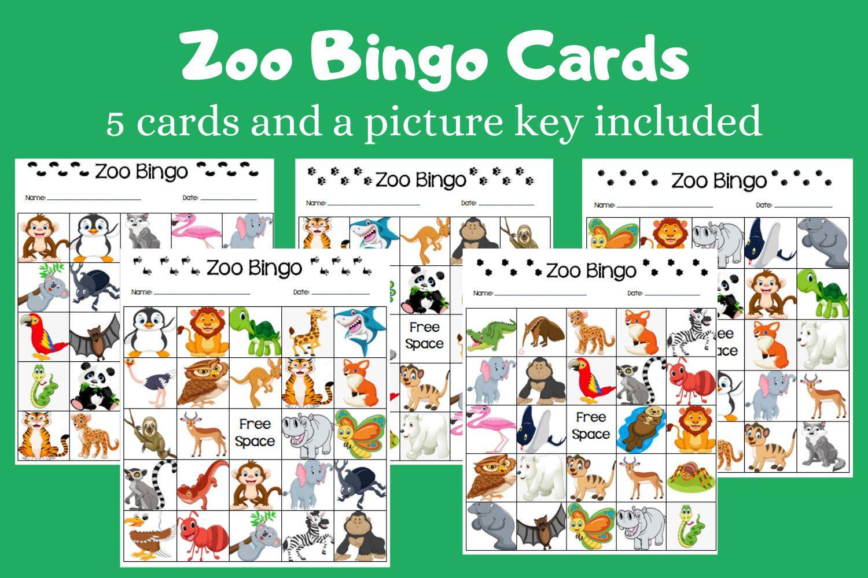 Zoo Animal Picture Bingo Cards