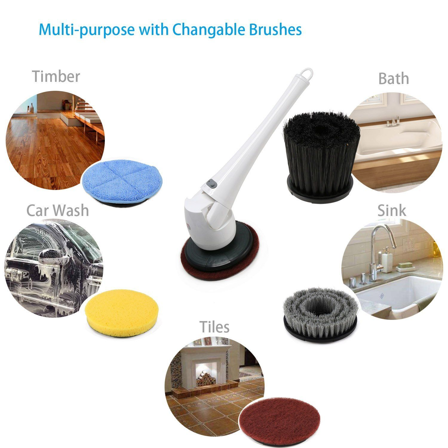 Amazon.com: Cordless Indoor/Outdoor Power Spin Scrubber with ...