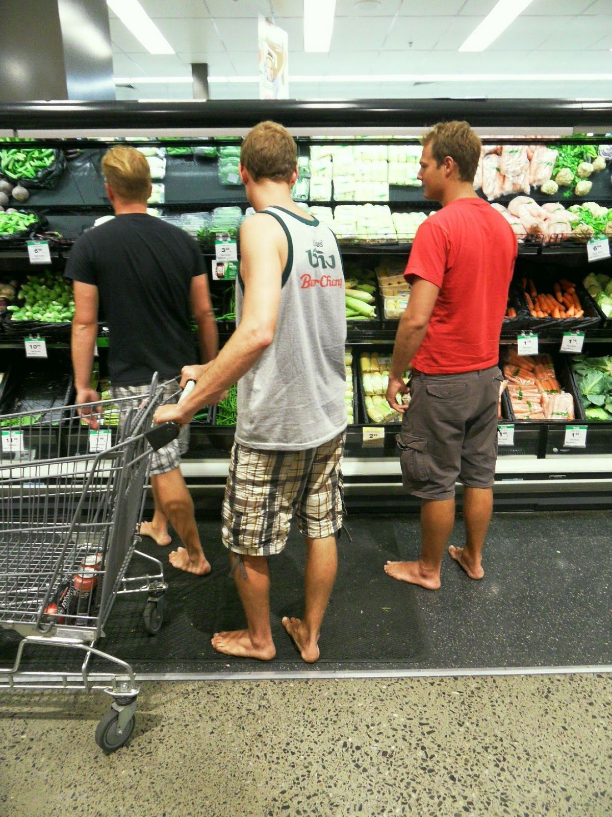 Man Shopping Barefoot