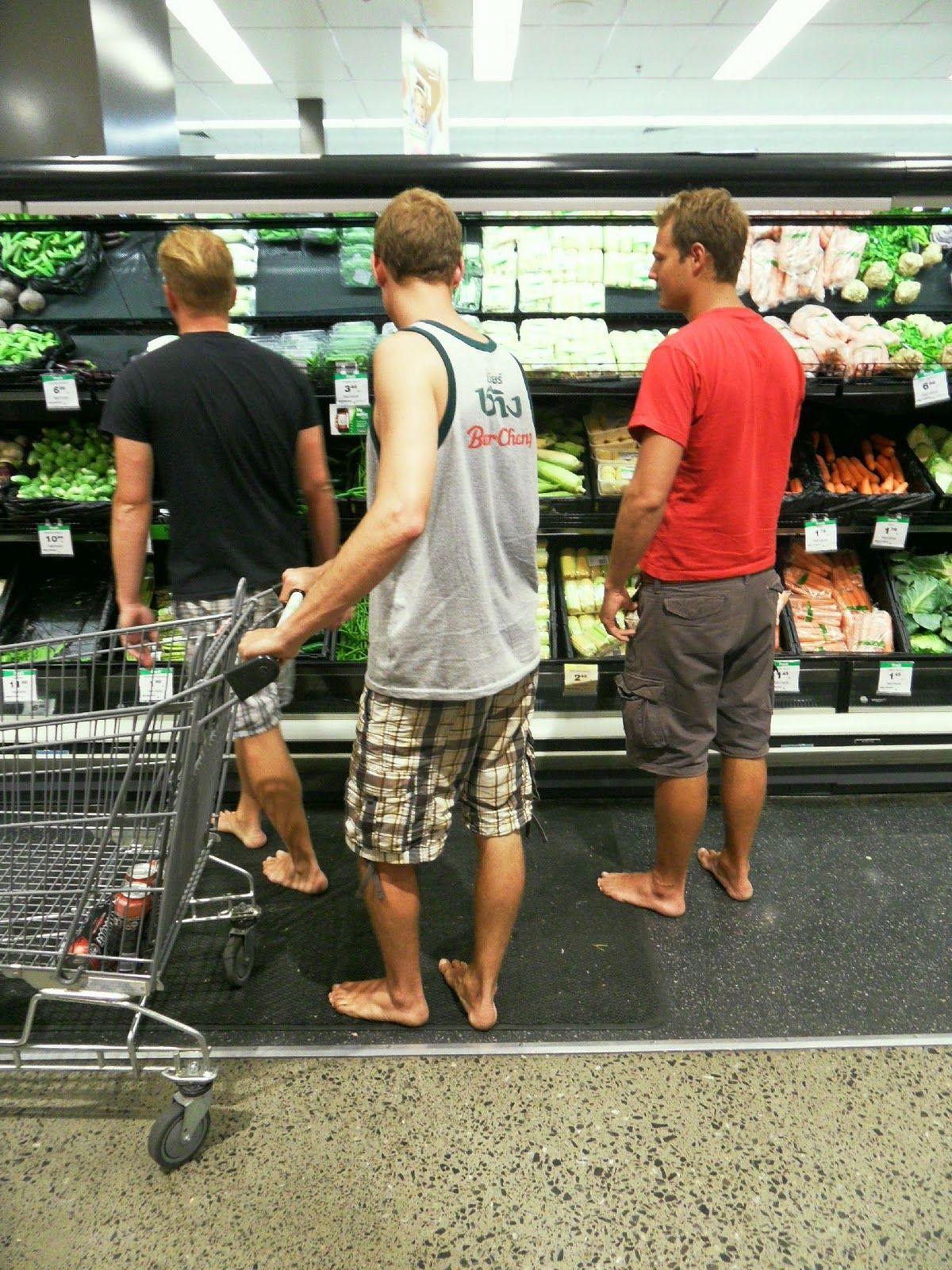 Man Shopping Barefoot