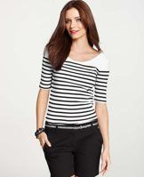 Essential Stripe Tee - Walk the line: this smartly striped tee makes its mark with a flattering, fitted silhouette. Front and back scooped neck. Short sleeves.