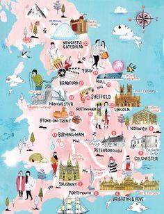 Illustrierte Landkarte Englands