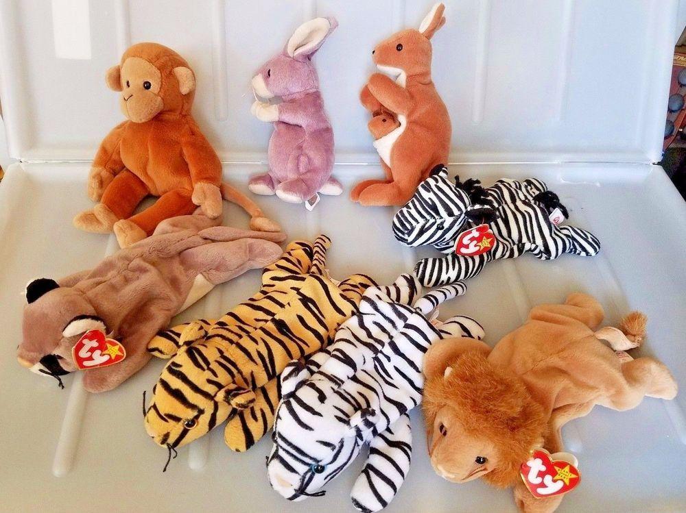 8 Pc Lot Ty Beanies Babies Zoo Wild Jungle Australia Animals Ty Baby Wild Animals Baby Beanie Ty Toys