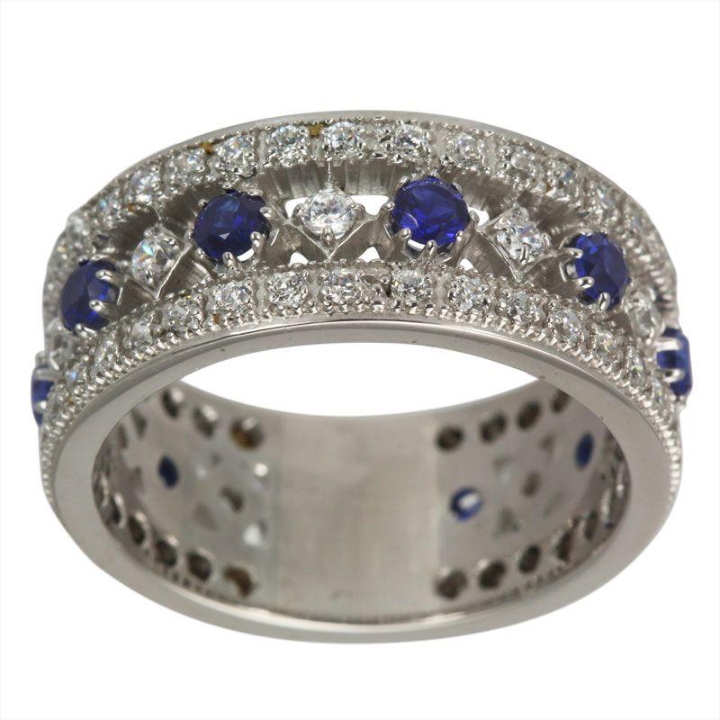 sapphire wedding anniversary invitations%0A Blue Sapphires Diamond Wedding Ring Diamond Band With Diamonds  u     Sapphires    K  Antique Sapphire And Diamond Migrain Anniversary