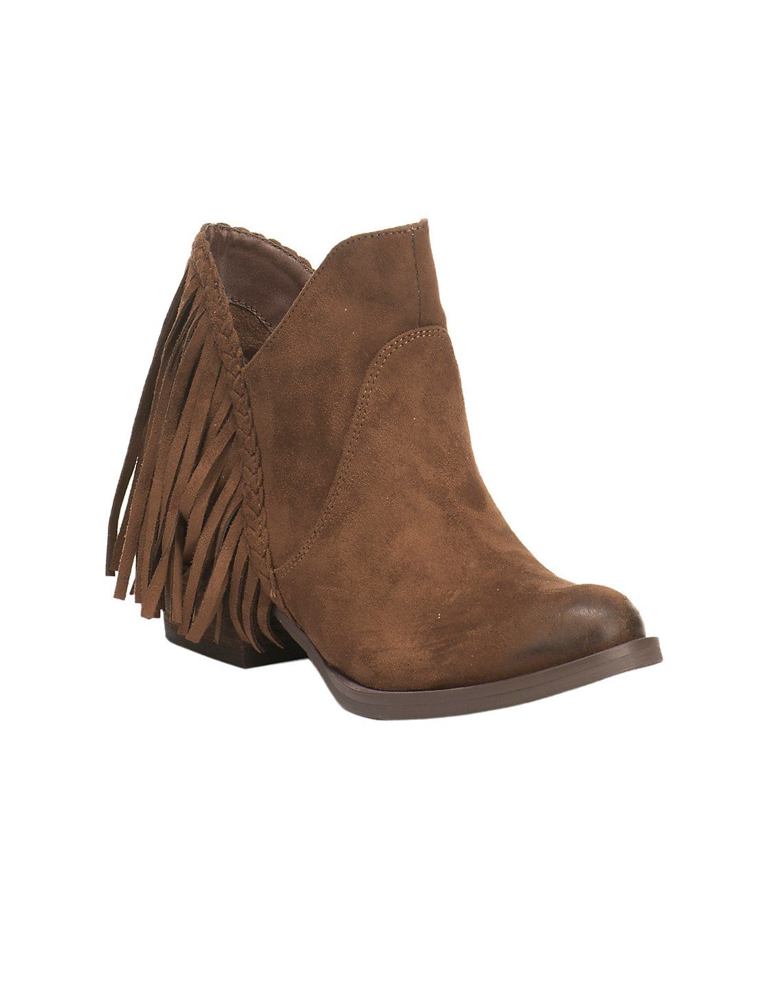 Not Rated Women S Tan Microfiber With Fringe Round Toe Bootie Cavender S Boots Women Fashion Boots Womens Boots